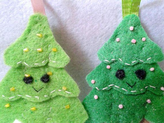 Kawaii Christmas Tree ornament by chiaracat on Etsy