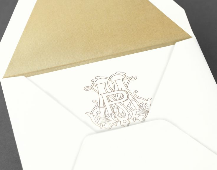 Vera Wang Extra Large Square Wedding Invitation With A Gold  Monogram.Available At Honey