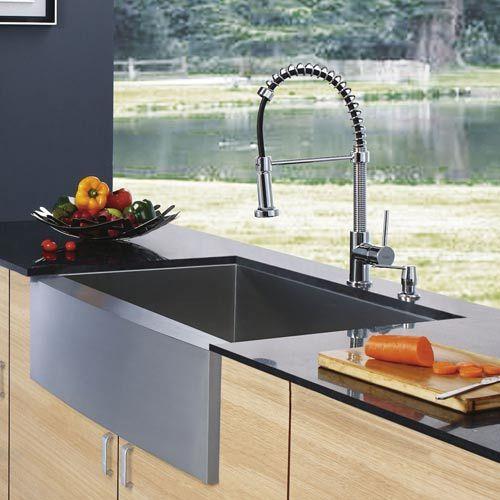 Farmhouse Stainless Steel Kitchen Sink, Faucet And Dispenser Vigo Farmhouse Kitchen Sinks