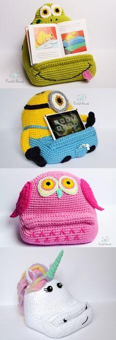 Fun Crochet Idea for a gift. Crochet book tablet holder patterns. Crochet Frog, crochet owl, crochet Unicorn, crochet Stuart.