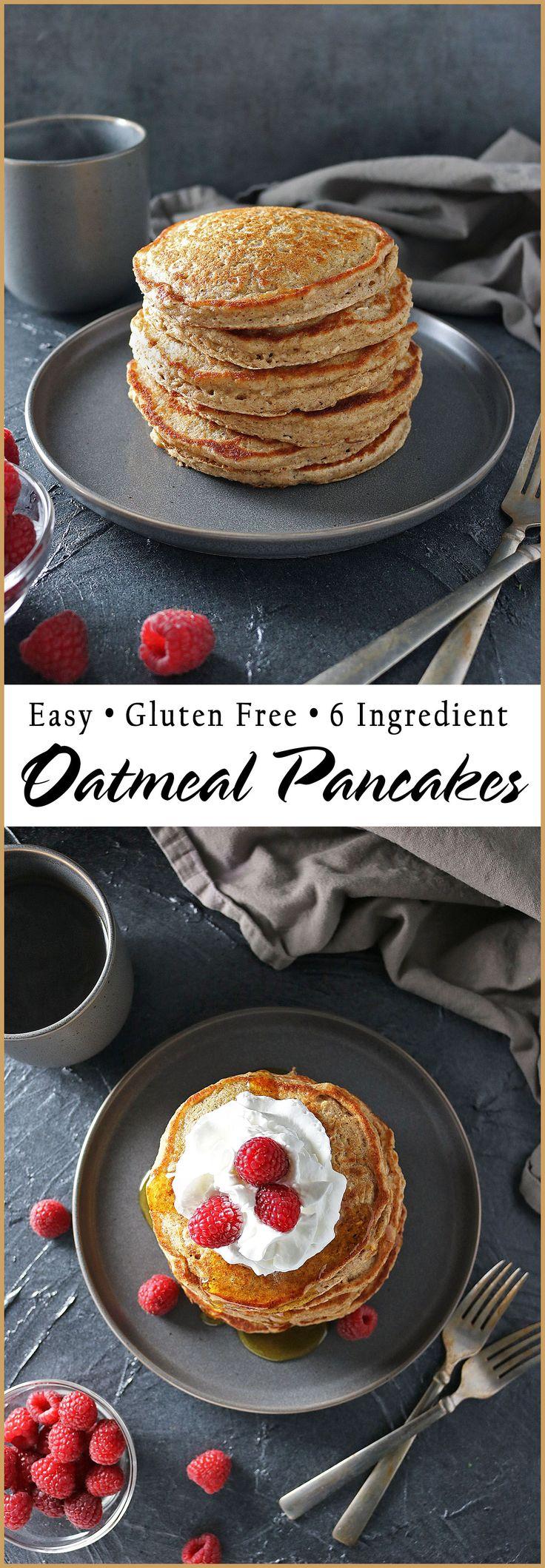 Easy Gluten Free 6-Ingredient Oatmeal Pancakes