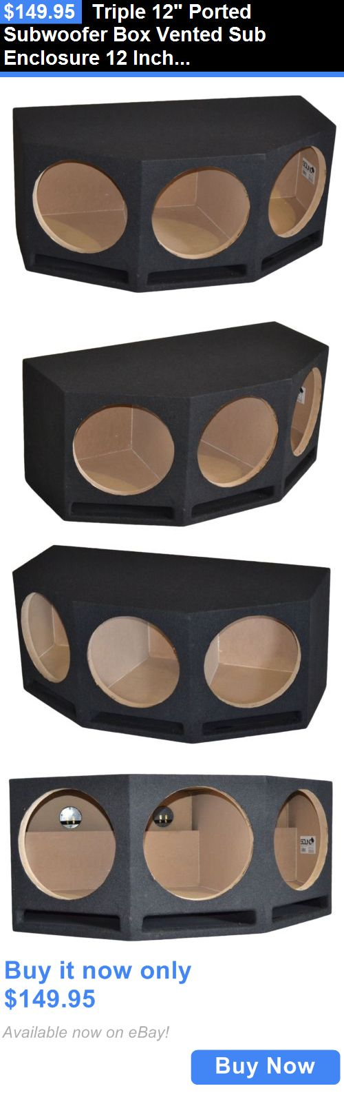 Speaker Sub Enclosures: Triple 12 Ported Subwoofer Box Vented Sub Enclosure 12 Inch, 1 Baffle -Angled BUY IT NOW ONLY: $149.95