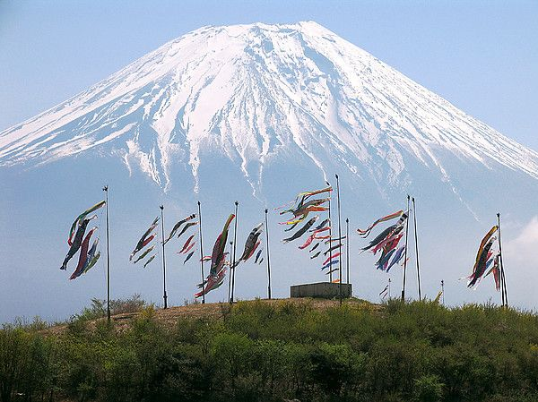 Mount Fuji with Japanese Carp Streamers of Children's Day in Japan