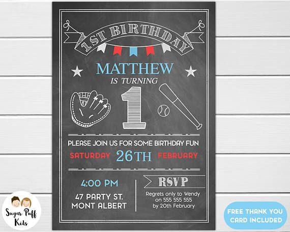 Chalkboard Baseball 1st Birthday Invitation  First birthday