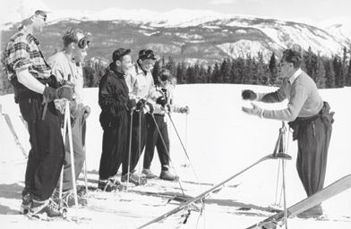 Klaus teaching skiing on Aspen Mountain just below the Sundeck restaurant in 1948. As an instructor he would be paid $10 per day; ski tickets were $4.50 per day.