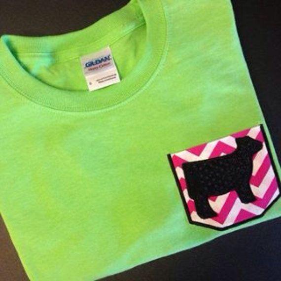 Show Calf / Show Heifer / Show Steer Pocket T-shirt on Etsy, $18.00