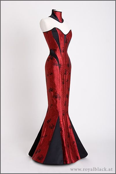 "Royal Black's Corset Gown ""The Lady Is A Vamp""  Couture corset gown with matching neck corset, made from red Chinese brocade and heavy black satin."