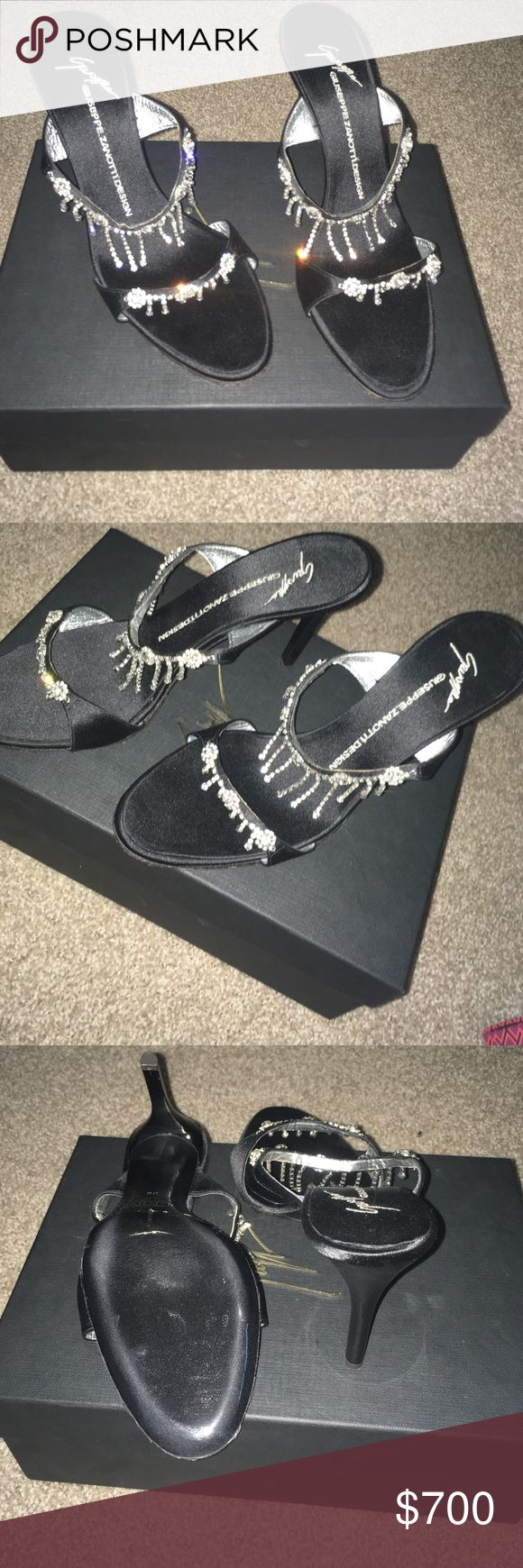 Giuseppe Zanotti Design Heels Black Giuseppe Zanotti Design Heels with crystals all over. Never used, brand new. Just don't want them. Purchased through Giuseppe a while ago. Doesn't have all original tags. Thanks! Giuseppe Zanotti Shoes Heels