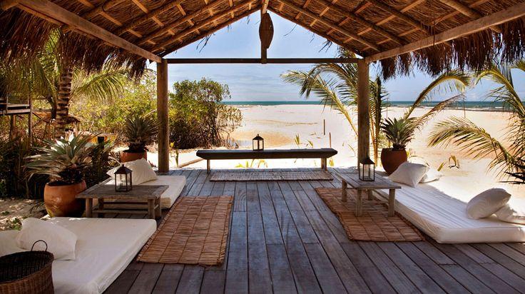 Uxua Casa Hotel, Trancoso, Bahia, Brazil. The hotel is not beachfront, but it has a beach bar.