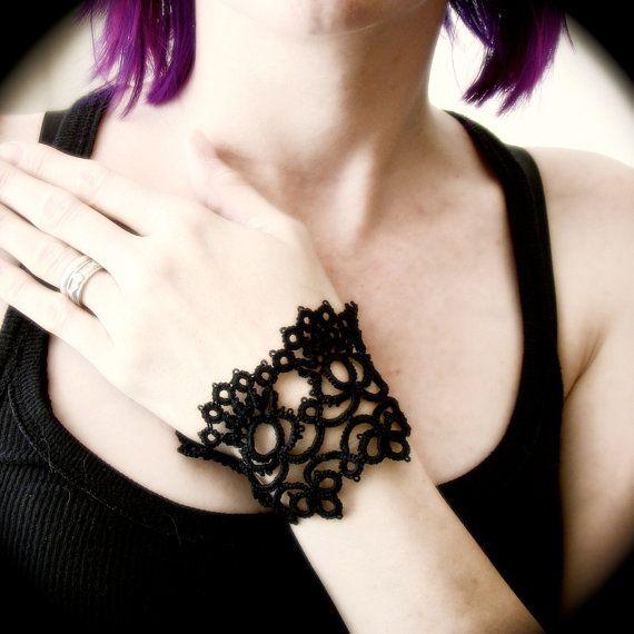 Tatted Lace Cuff Bracelet  Silken Road by TotusMel on Etsy,