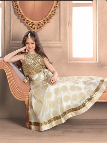 Off White & Golden Banarasi Kids Lehenga Choli ,Indian Dresses