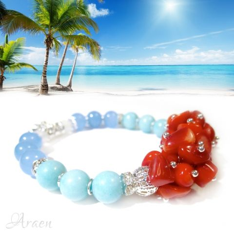 Moorea - Tropical Breeze gemstone stretch bracelet made of aquamarine, amazonite and white jade beads, coral chips, silver plated rhinestone spacers, filigree beads, jumprings and a tiny starfish.