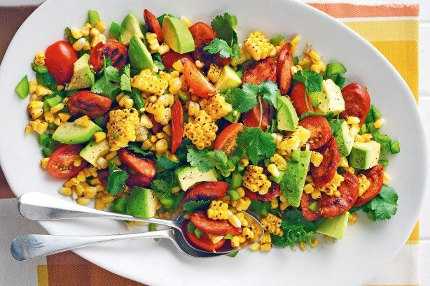 Corn, chorizo and avocado salad
