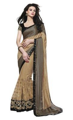 Beige embroidered artSilk saree with blouse