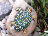 Gartendekoration - Garten Dekoration Stein Eidechse blau Mosaik - ein Designerstück von Cornelia-Hauch bei DaWanda