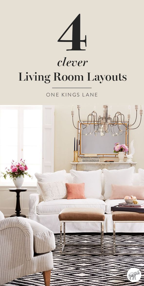 Stuck on how to layout the design of your living room? See how our expert interior designers designed four different living room layouts using the same pieces of furniture, right here on One Kings Lane!