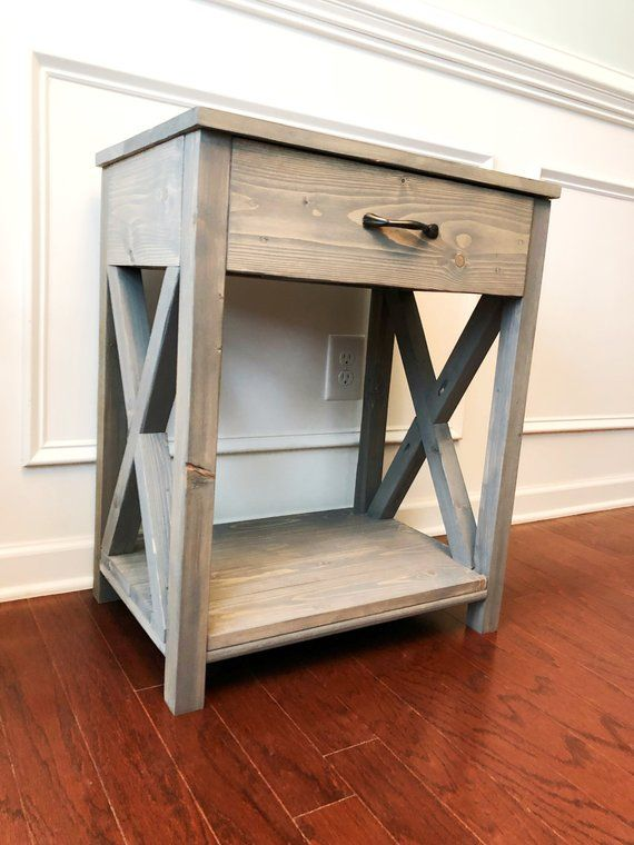 Custom Built Nightstand Is Approximately 17x17x25 Goes Great With Rustic Farmhouse Decor Handles Are Black Bu Rustic Nightstand Rustic Side Table Furniture