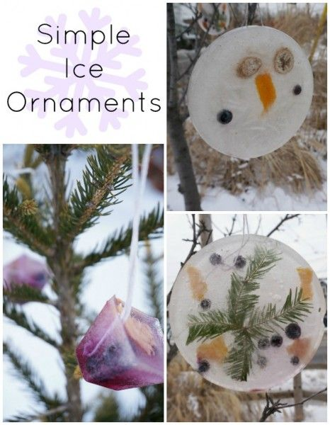 Simple ice ornaments - how to make them in your own backyard...winter outdoor play fun for kids.