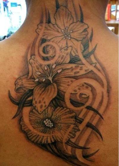 tribal Flower Tattoo Designs on shoulder | Flower Tattoo