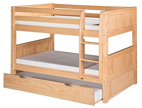 Camaflexi Panel Style Solid Wood Low Bunk Bed with Trundle, Twin-Over-Twin, Side Attached Ladder, Natural * You can find out more details at the link of the image.
