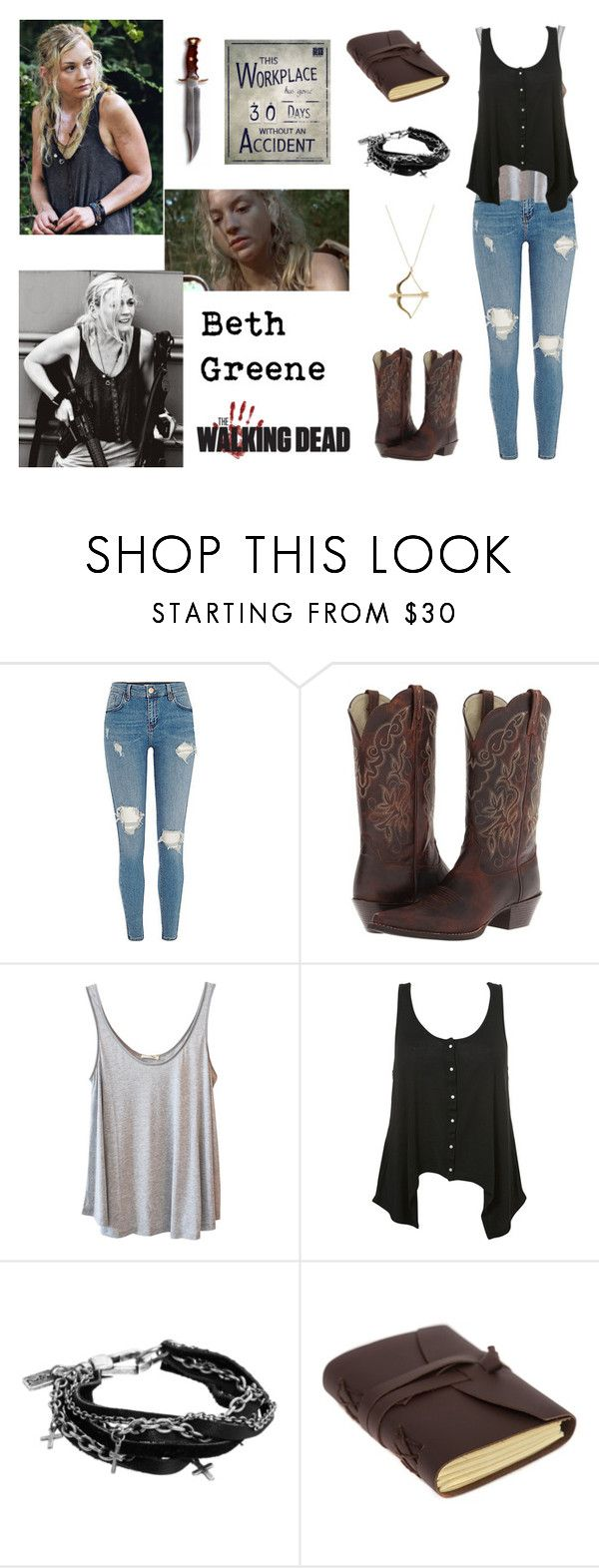"""""""Beth Greene / The Walking Dead / TWD / Zombie Apocalypse"""" by heavymetalvampirequeen ❤ liked on Polyvore featuring Ariat, American Vintage, Sydney Evan and Religion Clothing"""