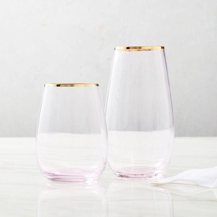 Stemless Glassware - Gold Rimmed