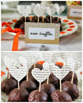 """""""Chapter 2"""" Book Themed Party Toppers/sticks with hearts made out of book pages."""
