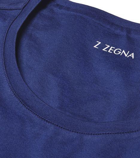 ZZEGNA:T-Shirt Imprimé Jersey Col rond Logo Bleu37653389AQ