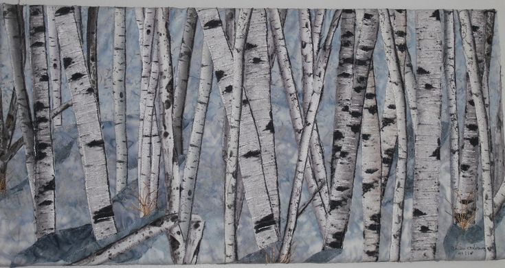 #Birch Trees in Snow 4, fabric collage, thread painted, mounted on canvas.  Designed by Chris Allaway, Sold