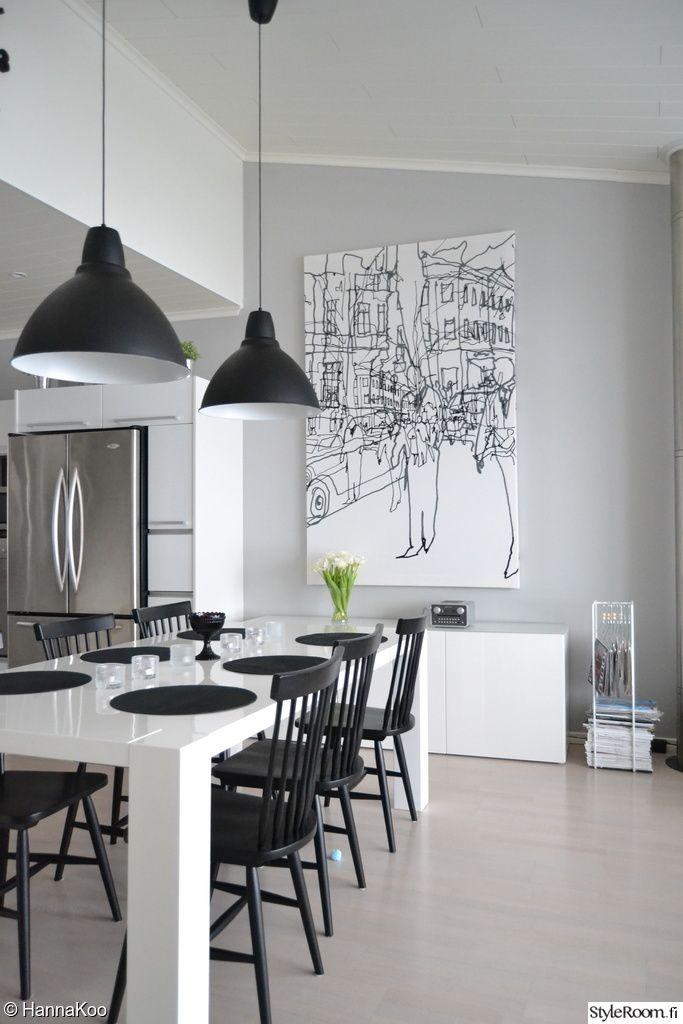 """""""HannaKoo"""":n keittiössä myös taulu sopii sisustuksen väreihin. #styleroom #inspiroivakoti #mustavalkoinen #keittio"""