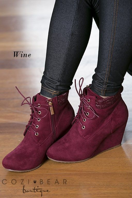 "Our new Sally Lace Up Wedges are adorable and a must have this fall/winter season!They feature an approx. 3"" wedge heel, amazing sweater accent around the ankle and both zip and lace up to ensure a perfect fit!COLORS BlackNavyTanTaupeWineSIZES5.5, 6, 6.5, 7, 7.5, 8, 8.5, 9, 10Runs slightly small. Model wears an 8.5/9 and is wearing an 8.5 but would prefer a 9."