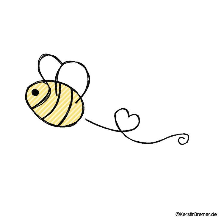 Biene mit Herz Doodle Stickdatei