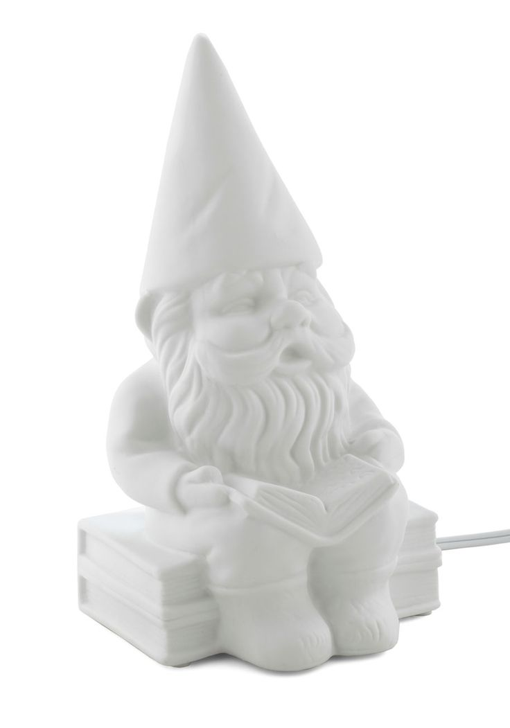 I kinda love gnomes.     $54.99 Welcome Gnome Porcelain Lamp by Streamline - White, Dorm Decor, Quirky, Solid, Fairytale