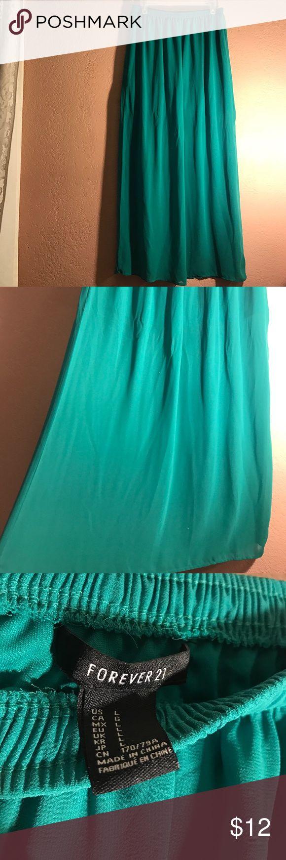 Turquoise Maxi Skirt Forever 21 Turquoise Maxi Skirt, size Large. Forever 21 Skirts Maxi