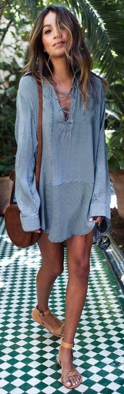 #summer #outfits / Chambray Lace Up Shirt Dress