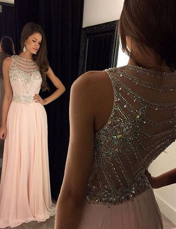 peach long beaded prom dresses 2017, 2017 prom dresses for women, beading prom dresses cheap