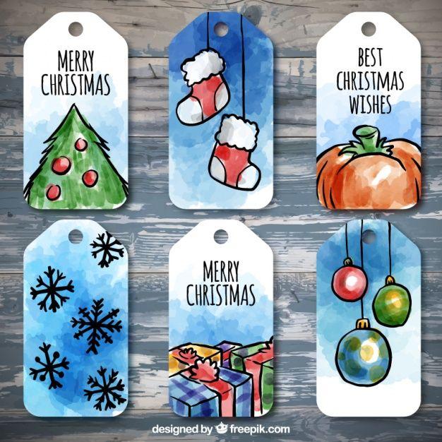 Пакет акварельных рождественских Теги Бесплатные векторы