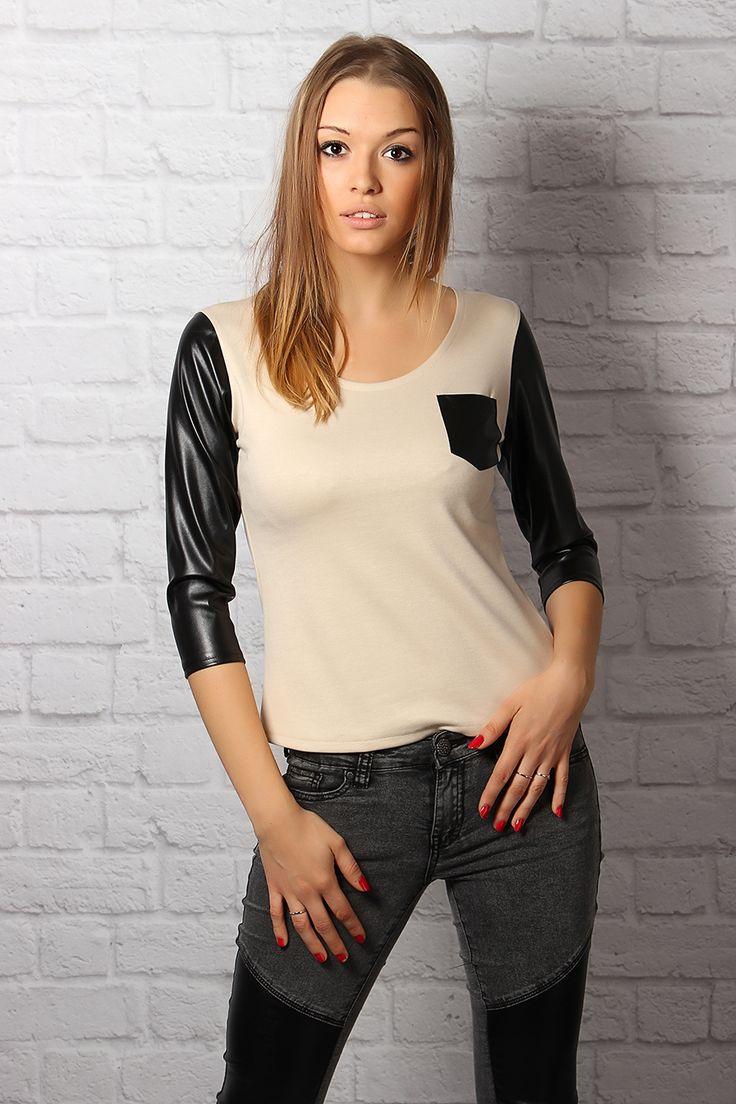 http://jestesmodna.pl/product/show/6779.html  Bluzka z kieszonką MK-M15  Urocza bluzeczka z kieszonką. Rękawy oraz wstawki wykonane z ekoskóry. Idealna na każdą okazję, do pracy, biura, szkoły.
