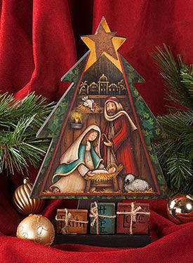 Nativity Tree by Maxine Thomas from Nativity Tree Pattern Packet. Packet and wood surface available at www.ArtistsClum.com