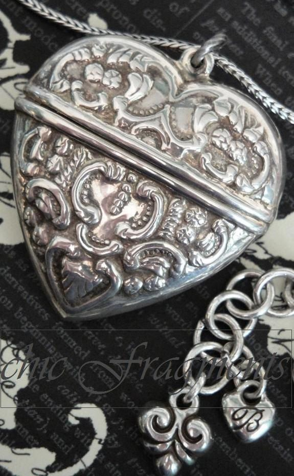 Heart Locket Necklace. Repousse Sterling Silver. On a Beautiful Brighton Chain