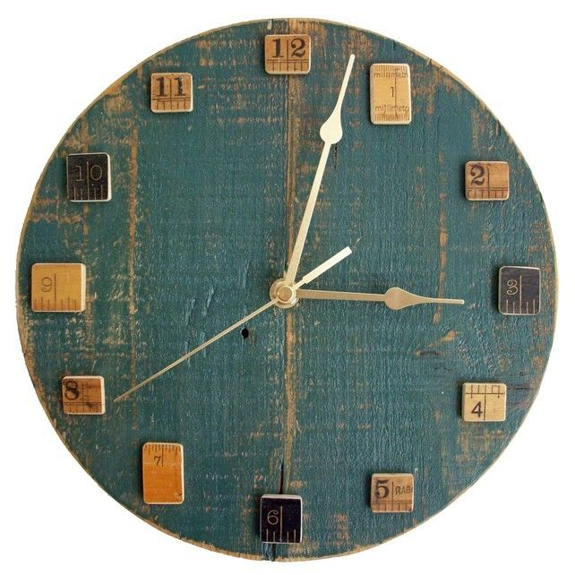 Painted Green Wall Clock With Vintage Wooden Rulers By Reclaimed Time