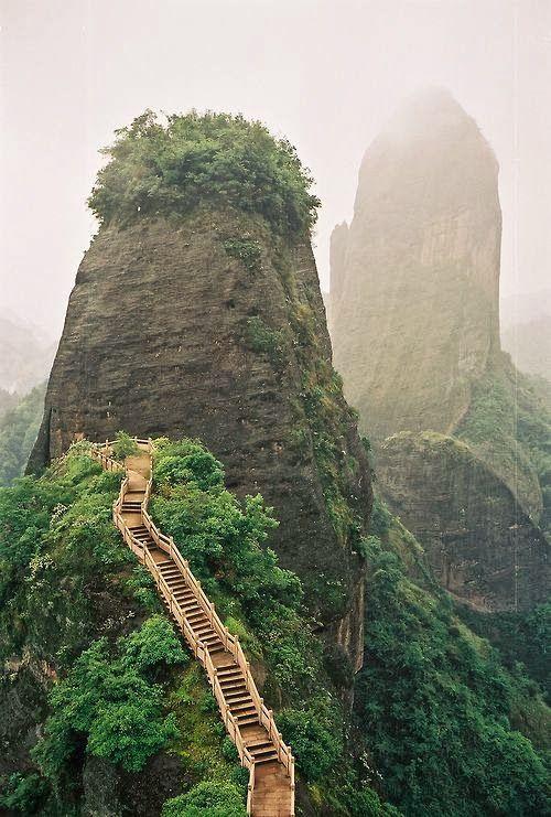 Luotuofeng Peak - Sichuan, ChinaTravel Adventure, Stairs, Nature, Luotuofeng Peaks, Beautiful, Visit, Amazing Places, Sichuan China, Wanderlust