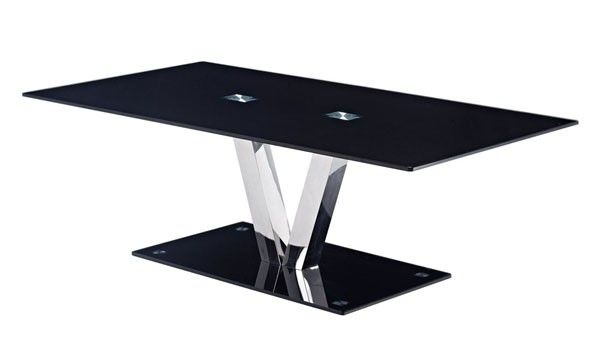 Global Furniture - Rectangular Black Glass Coffee Table with Chrome Legs - T655CT
