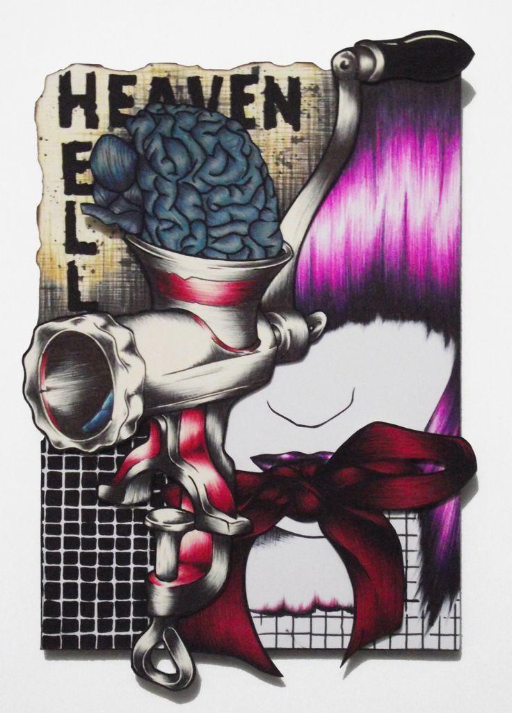 """""""Hell Heaven"""" est un cadre de 13*18 cm composé par collage de différents éléments dessinés. Avec toujours cette idée que les monstres ne sont pas toujours ceux que l'on croit, ce dessin au look rock met en scène un hachoir à viande, une fillette mystérieuse et un cerveau humain."""
