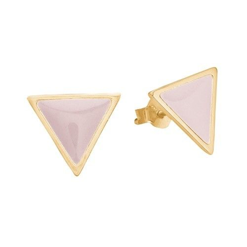 Stud, triangle, light pink, gold plated sterling silver
