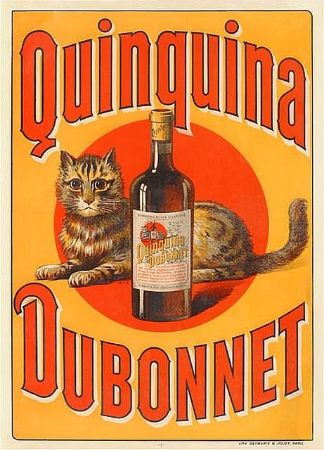 """C'est en 1846 rue Sainte-Anne dans le quartier de l'Opéra à Paris, que Joseph Dubonnet elabore un vin de quinquina qui devrait s'appeler plus tard le """"Quinquina Dubonnet """". La tradition familiale veut que Mme Joseph Dubonnet epouse du fondateur aimant beaucoup les chats, fit prévaloir le choix du chat placé sur l'étiquette de la bouteille dans un disque rouge servant de fond (Société Ricard, feuillets d'information 1998)"""