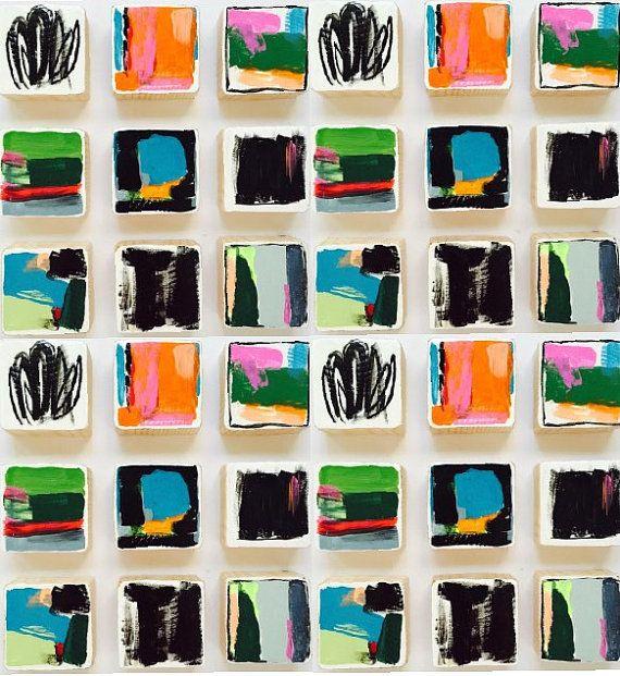 Original pintado arte de pared de bloque de madera | Pintura pared moderna escultura abstracta | Instalación de arte comercial