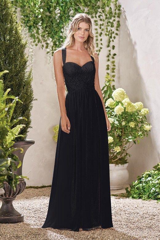 5d5be82f4a365 B193002 Long Sweetheart Neckline Lace & Poly Chiffon Bridesmaid Dress
