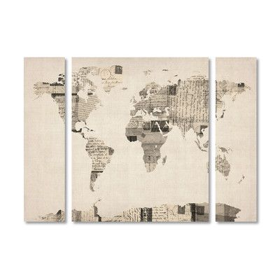 27 mejores imgenes sobre upstairs living room en pinterest mapas trademark art postcard world map by michael tompsett 3 piece graphic art on wrapped gumiabroncs Images