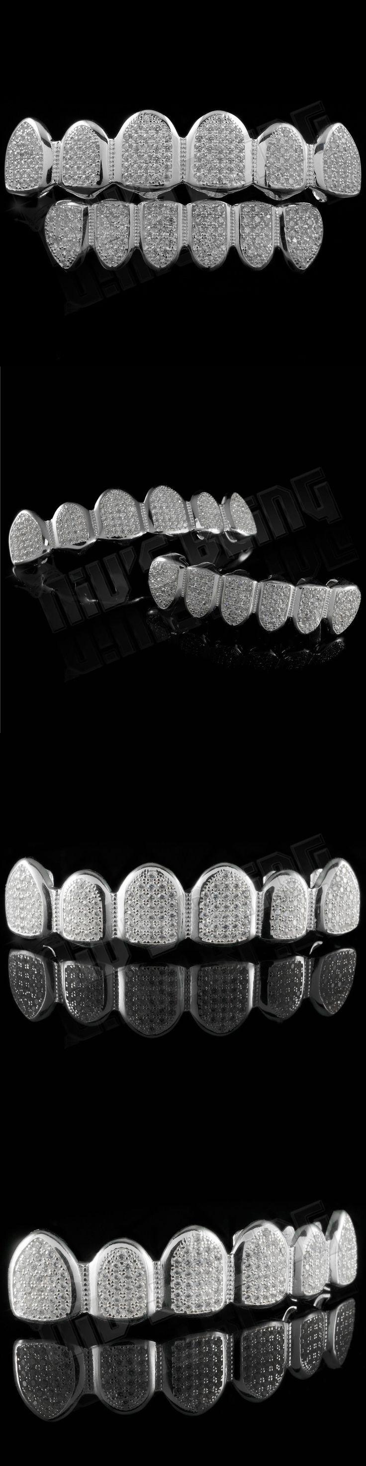 Grillz Dental Grills 152808: .925 Sterling Silver Cz Micro Pave Top Bottom Custom Grillz Set Joker Teeth BUY IT NOW ONLY: $59.99